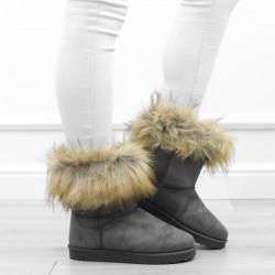 Szare botki śniegowce futerko