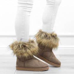 Khaki botki śniegowce futerko