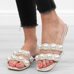 Beżowe klapki damskie perły