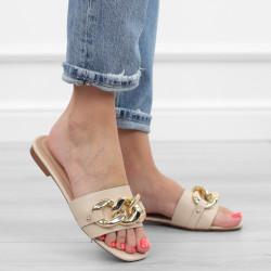 Beżowe klapki łańcuch sandały