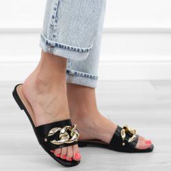 Czarne klapki łańcuch sandały