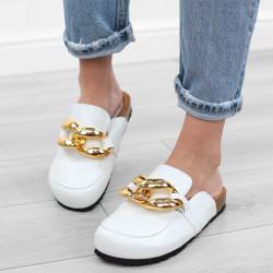 Białe klapki damskie złoty...