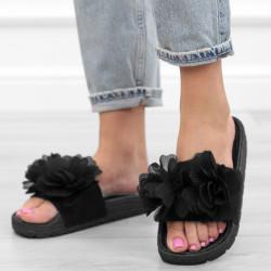 Czarne klapki kwiaty sandały
