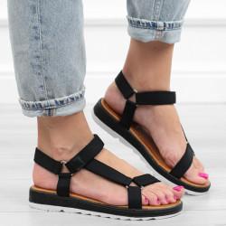 Czarne sandały tkanina...