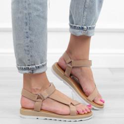 Beżowe sandały zamszowe...