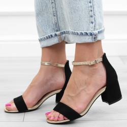 Czarne złote sandały na...
