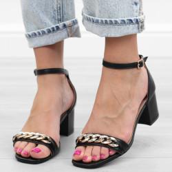 Czarne sandały damskie na...